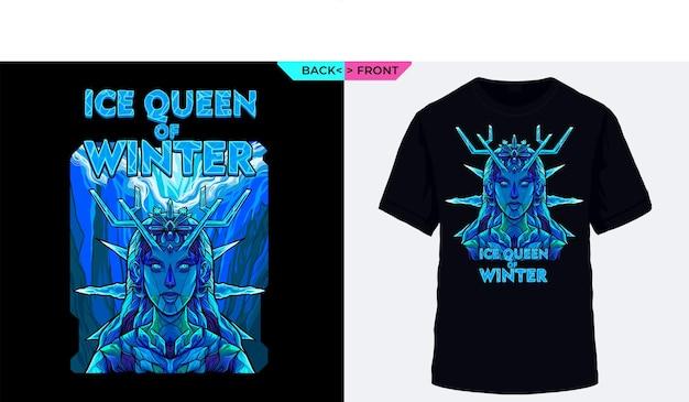 Królowa zimy z wizualizacją zimnych kostek lodu nadaje się na zimowe ubrania i gadżety