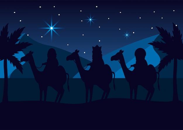 Królowie magów jeżdżą na wielbłądach w gwiazdach na objawienie