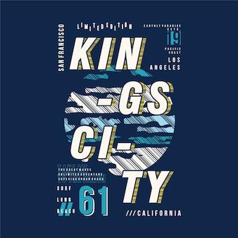Królowie miasto ilustracja typografia ramki tekstowej do druku t shirt