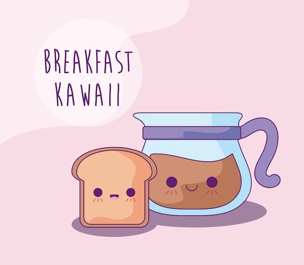 Kromka chleba i czajnik z kawą na śniadanie w stylu kawaii