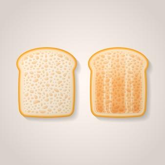 Kromki tostów. świeży i opiekany chleb.