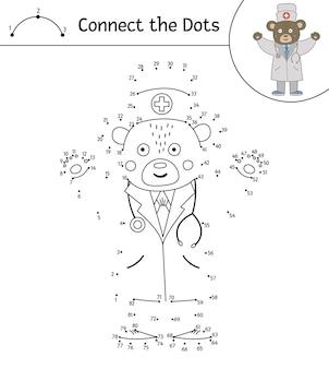 Kropka-kropka z uroczym zwierzęcym lekarzem z podniesionymi rękami