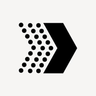 Kropkowana ikona strzałki, naklejka, wektor symbol kierunku w czerni i bieli