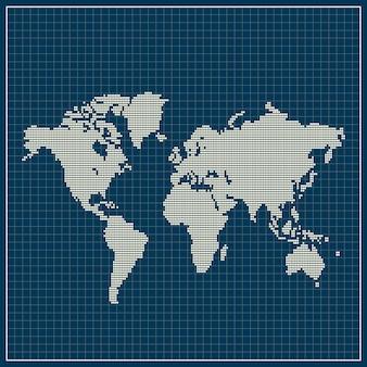 Kropkowana mapa świata na niebieskim tle