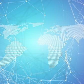 Kropkowana mapa świata z wzorem chemicznym, łączącymi linie i kropki.