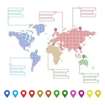 Kropkowana mapa świata ze wskaźnikami i miejscami tekstowymi. koncepcja twojego projektu.