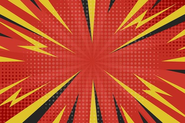 Kropkowane czerwone i żółte tło komiks stylu