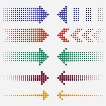 Kropkowane strzałki. kropki wskaźniki, kolorowe, efekt półtonów. ilustracja wektorowa.