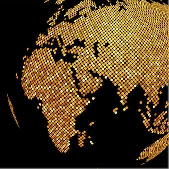 Kropkowane złote tło glob