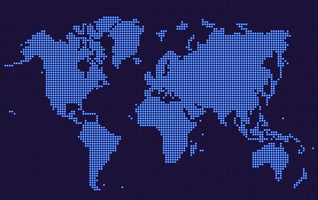 Kropkowany styl niebieskiej mapy świata
