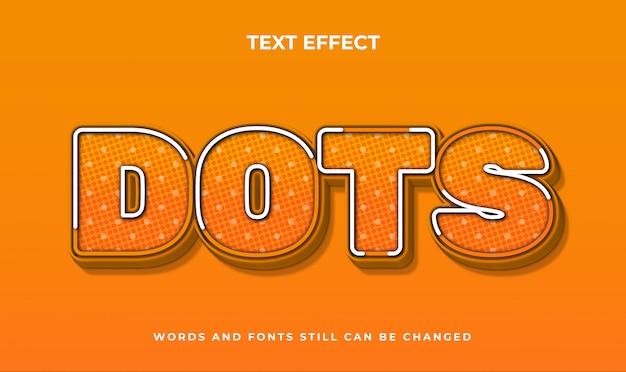 Kropkuje kreatywny edytowalny efekt tekstowy 3d. elegancki styl tekstu