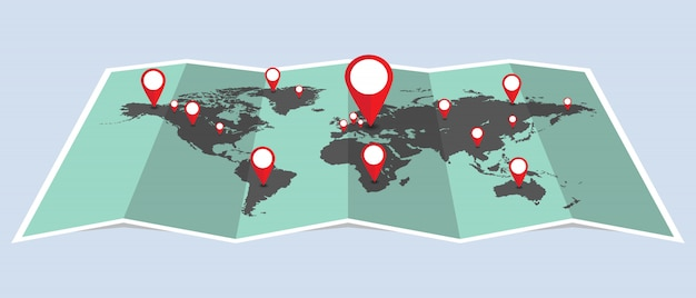 Kropkuje światową mapę z szpilkami ilustracyjnymi. kropki wskazujące lokalizację na mapie
