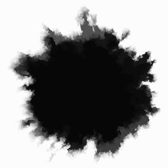 Kropla czarnego atramentu na białym tle. okrągły, postrzępiony kleks powoli rozprzestrzenia się ze środka. gradientowe przejście akwareli od ciemności do światła. ilustracja wektorowa kropelki.