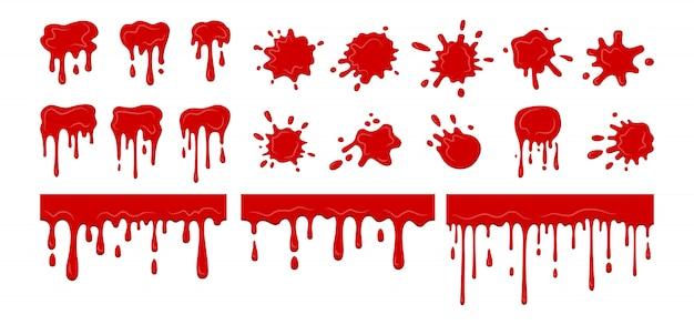 Kropla krwi rozpryskuje się kropelka, zbieranie. bloody current splatter collection. halloweenowe ozdobne kształty płynów. kolekcja kształtów plam, krople płaskich odprysków kreskówek. ilustracja na białym tle