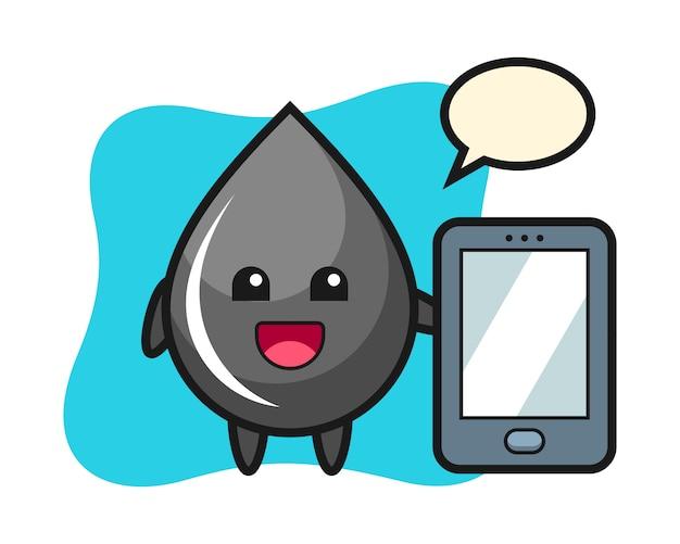 Kropla oleju ilustracja kreskówka trzymając smartfon