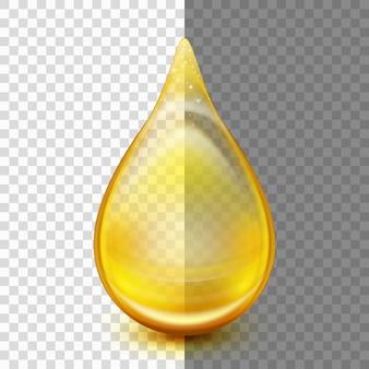 Kropla oleju na przezroczystym tle. esencja kropli oleju kolagenowego.