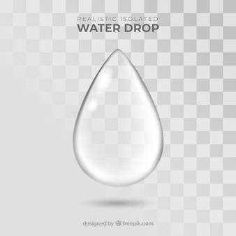 Kropla wody bez tła w realistycznym stylu