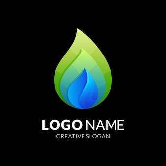 Kropla wody i liść, logo kombinacji w kolorowym stylu