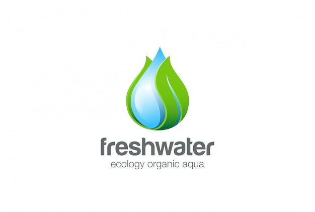Kropla wody liść logo wektor ikona.