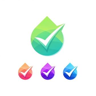 Kropla wody z zestawem logo znacznika wyboru