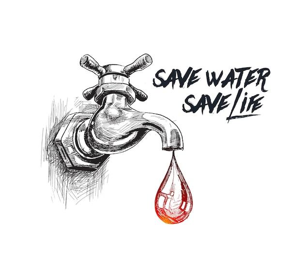 Kropla z kranu oszczędzaj wodę ratuj życie ręcznie rysowane szkic ilustracji wektorowych