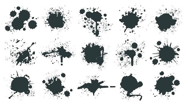 Krople atramentu. splash farby, plamy kropli cieczy grunge, plamy abstrakcyjnego atramentu artystycznego