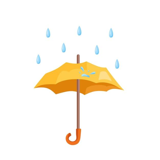 Krople deszczu spadają na parasol. ilustracja kreskówka wektor.