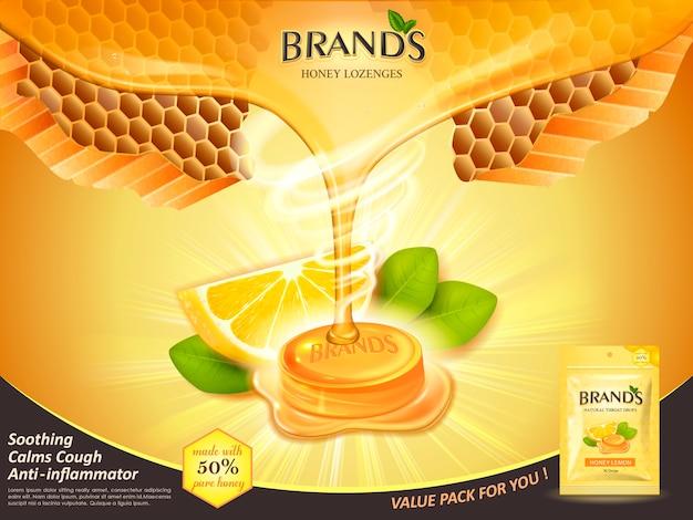 Krople do gardła o smaku miodu cytrynowego z liśćmi i elementami plastra miodu, ilustracja na złotym tle