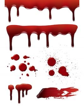 Krople krwi. symbole śmierci grozy krwawe plamy realistyczna kolekcja rozprysków cieczy