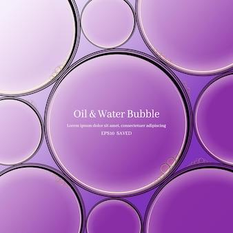 Krople oleju na powierzchni wody abstrakcyjne tło.