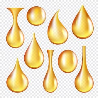Krople przezroczyste dla oleju. realistyczny zbiór żółtych płynnych złotych olejków