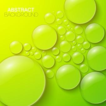 Krople wody i bąbelki jasne zielone realistyczne ilustracje