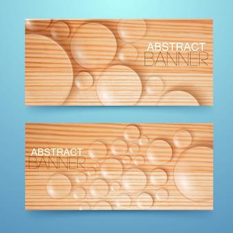 Krople wody i bąbelki poziome bannery ustawione na drewnianych realistycznych ilustracji na białym tle