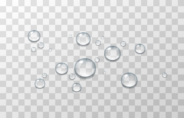 Krople wody, kondensacja na szybie, na powierzchni. realistyczne krople na na białym tle przezroczystym tle.