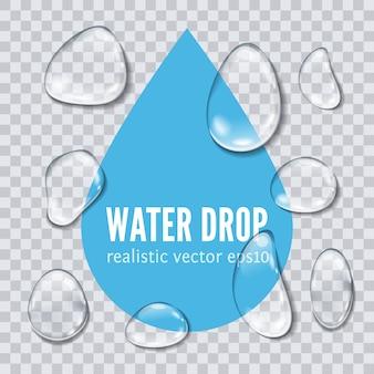 Krople wody na przezroczystym tle.
