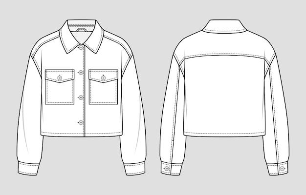 Krótka kurtka koszulowa. szkic mody. płaski rysunek techniczny. ilustracja wektorowa.