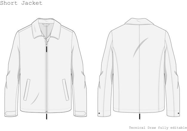Krótka kurtka techniczna ręcznie rysowana