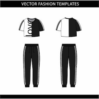 Krótki top i spodnie moda płaski szablon szkicu, strój do biegania z przodu iz tyłu, strój sportowy