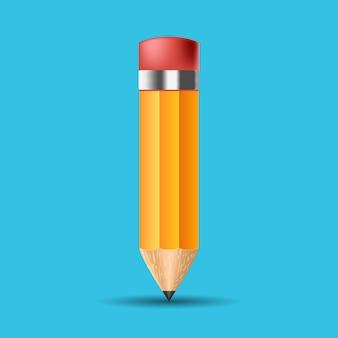 Krótki żółty ołówek, realistyczny ołówek na białym tle kreskówka z gumową gumką.
