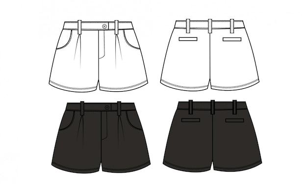 Krótkie spodnie szklany szklany szablon