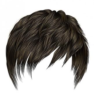 Krótkie włosy modnej kobiety z grzywką. kolor ciemnobrązowy. styl urody. realistyczny 3d.