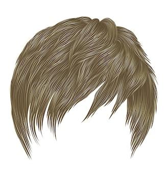 Krótkie włosy z grzywką w kolorze blond.