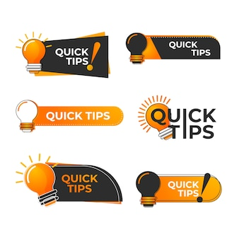 Krótkie wskazówki dotyczące logo. żółta żarówka z tekstem wskazówki quicks.