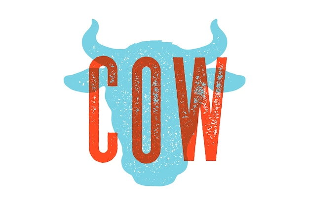 Krowa, byk. vintage typografia, napis, nadruk retro, plakat do sklepu mięsnego rzeźnego, sylwetka głowy krowy z tekstem napisu krowa. ilustracja