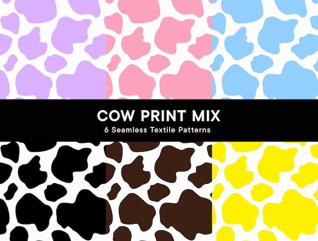 Krowa drukuj bezszwowe wzory w 6 kolorach