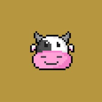 Krowa głowa w stylu pixel art