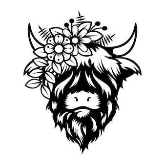 Krowa highland lady projekt głowy na białym tle. zwierzę hodowlane. logo lub ikony krów. ilustracji wektorowych.