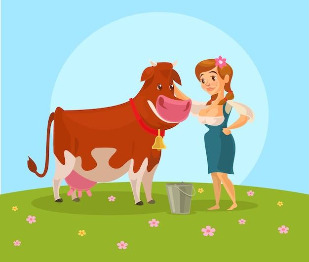Krowa i dojarka.