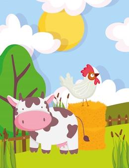 Krowa i kogut na siano drzewach roślinność ogrodzenie zwierząt gospodarskich kreskówka ilustracja