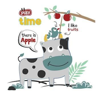Krowa i ptak w ogrodzie zabawna kreskówka zwierzęca